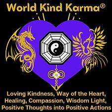 Kind Karma Logo with Heart, Dragon and Phoenix.
