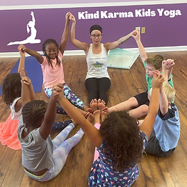 Diverse kids yoga class.