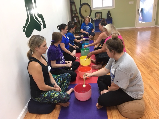 Kind Karma Partner Sound Training and Practice with Chakra Colored Crystal Singing Bowls.