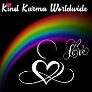 Kind Karma Worldwide Logo with Heart, Rainbow and Infinity Sign.