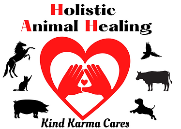 Healing hands on heart surrounded by domestic animals.