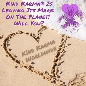 Kind Karma Worldwide Image of Heart Written in Sand.