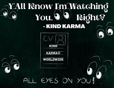 Kind Karma Worldwide Image with Eyes and Resume.