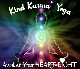 Kind Karma Yoga, Chakras, Heart and Person Meditating.