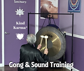 Dean Telano playing the Gong at Kind Karma Worldwide.