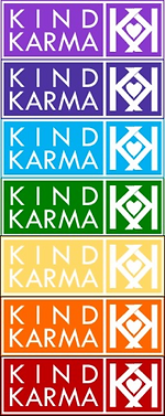 Kind Karma Chakra Colored Button.