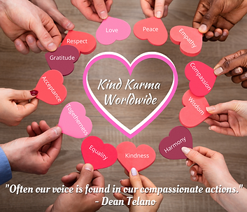 Kind Karma Worldwide Images with Hearts and Postive Phrases.
