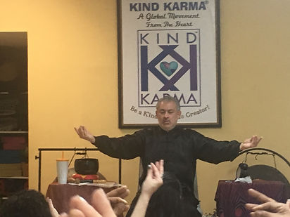 Dean Telano Founder of Kind Karma Teaching a Meditation Class