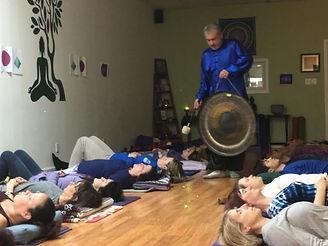 Dean Telano founder of kind karma teaching a sound bath workshop