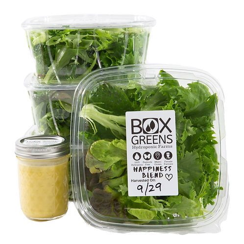Lettuce Lovers Care Package: 1LB Happiness Blend (Mixed Greens) + 1 Jar Dressing