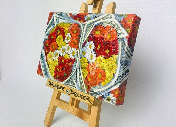 """Mini Tela Original """"Pacotes de Flores com Jornais"""""""