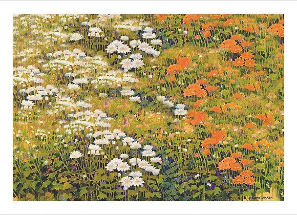 """Reprodução """"Campo de Flores com Neblina"""""""