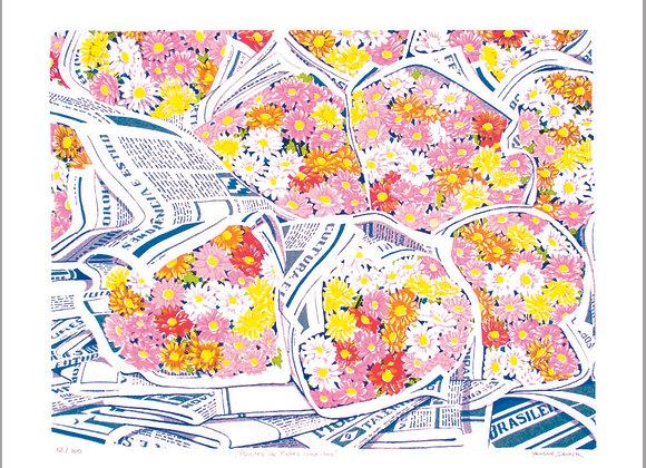 """Serigrafia """"Pacotes de Flores Coloridas"""""""