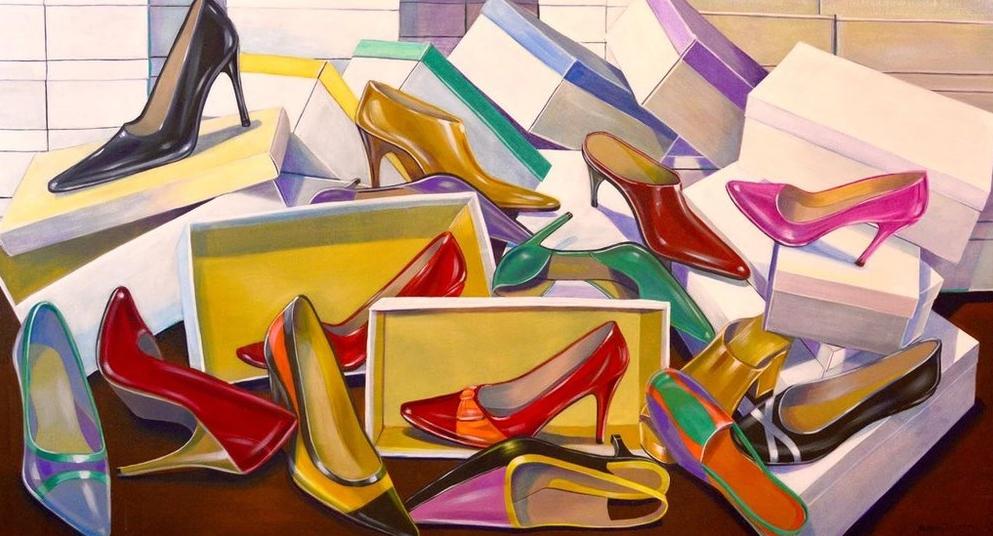Sapatos Coloridos com Caixas