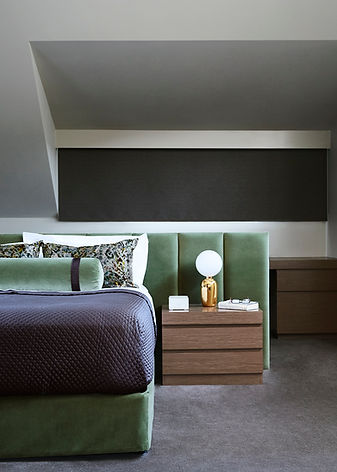 How to decorate a luxury bedroom | modern bedroom design | velvet bedhead and valance | Green and grey colour scheme in a bedroom |