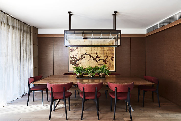 Dining room interior design | Red and gold dining room | timeless design | red chairs for dining table | Modern living room | Asian style living room