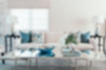 Contemporary blue an white living room. Blue and white decor. Blue and white interiors. Coastal living rooms. Contemporary coastal living room design. Classic living room. Fresh interior design. White sofa. Blue and white living room. Symetrical design