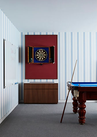 Blue and red playroom | dart board |