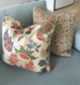 Custom made cushions with feather inserts   Australian made bespoke cushions   Cushions designs   Interior decoration   Red and blue cushion