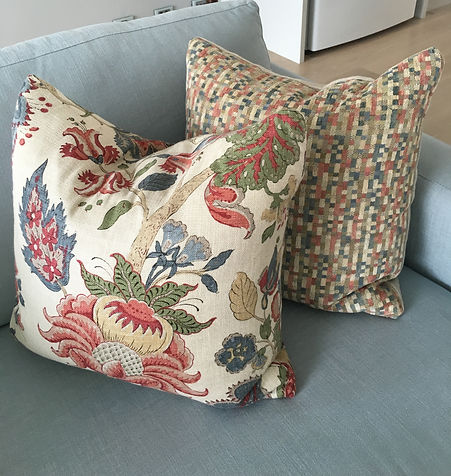 Custom made cushions with feather inserts | Australian made bespoke cushions | Cushions designs | Interior decoration | Red and blue cushion