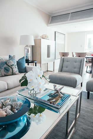 Coastal living room | Coastal Interior design | Blue and white interior colour scheme | coffee table styling | Interior design Maroubra Sydney