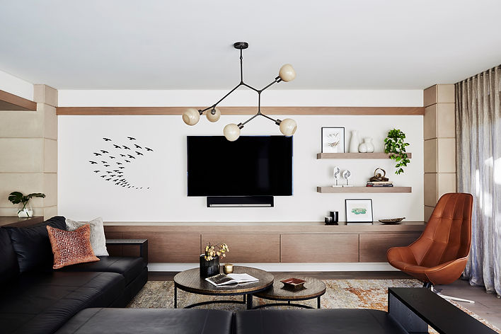Modern living room design Queens Park | Shelve styling | Interior stylist in Queens Park | How to decorate a living room with orange
