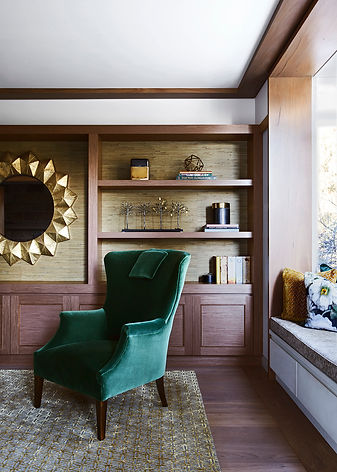 Home Library design | Luxury interior design | Formal style interior design | Grass wall paper | Best interior designer in Sydney