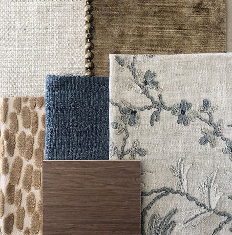 Material selection in Interior design | upholstery fabrics | colour scheme for living rooms | blue and brown colour scheme
