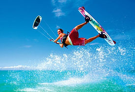 Kite boarder jumping