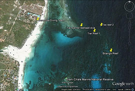 Map of diving sites