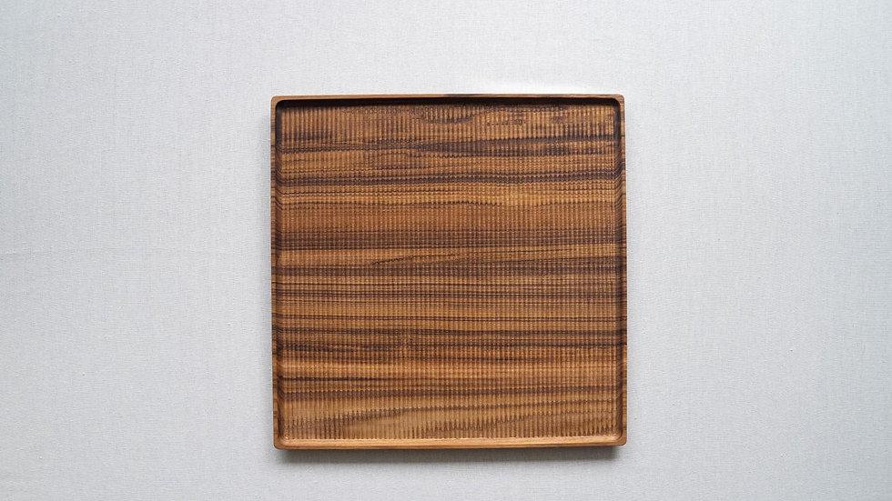 チークのスクエアトレイL(木立彫り)