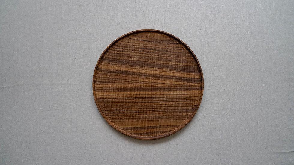 チークのラウンドトレイL(木立彫り)