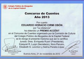 "CPACF Premio Accésit 2013 ""La Distancia"""