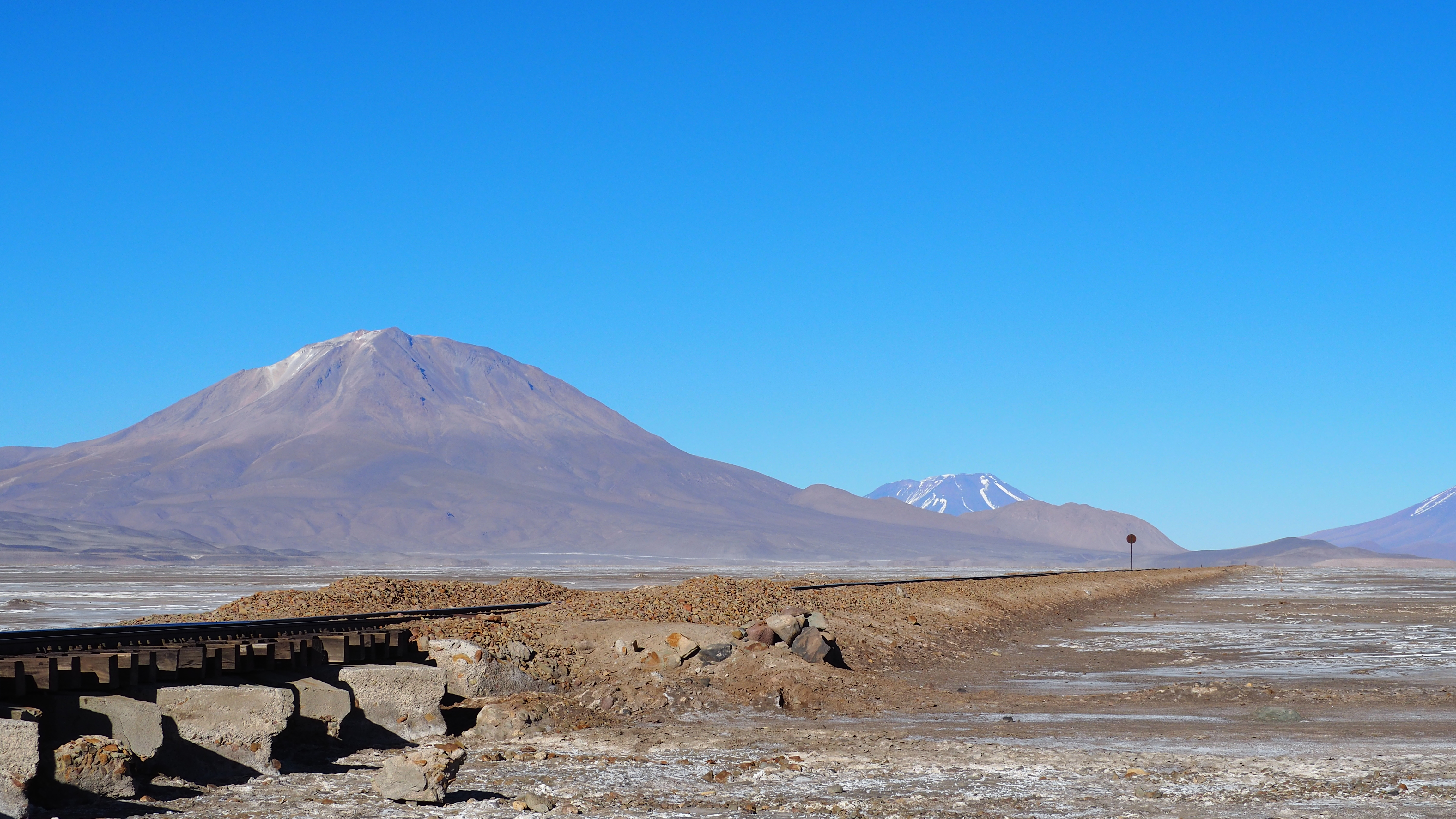 train tracks crossing the altiplano