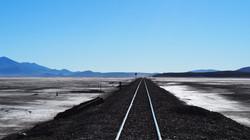 train tracks crossing the altiplano