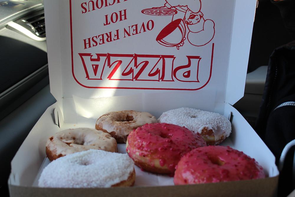 Apple cider glaze, cranberry lime & marshmallow coconut doughnuts