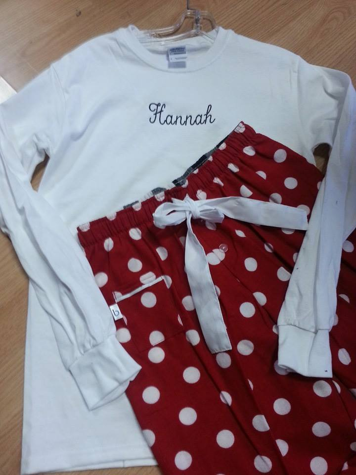 embroidered personalized pajamas