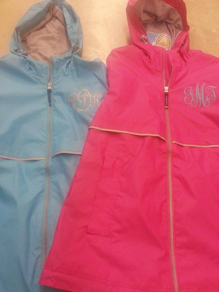 embroidered monogrammed rain jacket