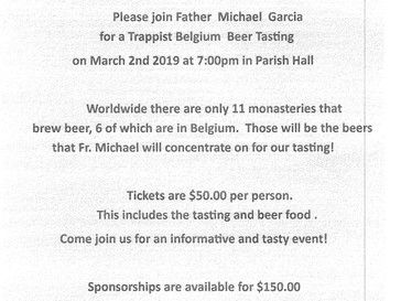 Mark Your Calendars - March 2 - Beer with Fr. Michael, March 9 - Rummage Sale!