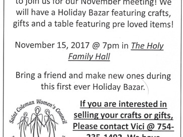 Fall Bazaar at our Meeting this Wednesday 11/15 at 7pm!