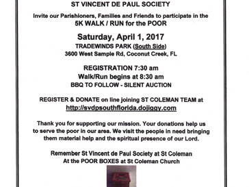 Please support the St. Vincent Walk for the Poor this Saturday, April 1, 2017!
