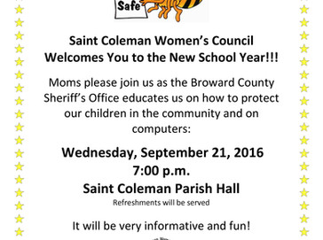 Saint Coleman Moms!! SCWC Invites you to our first meeting on September 21st!