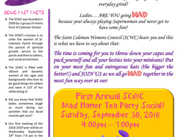 Save the Date 9/30/18! SCWC First Annual Mad Hatter Tea Party Social