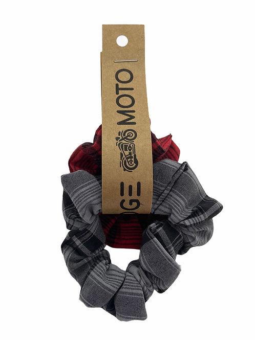 Ridge Moto Scrunchie Set [Red/Grey]