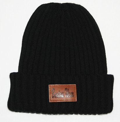 STAMPED BEANIE HAT - BLACK