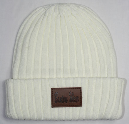 STAMPED BEANIE HAT - OFF WHITE