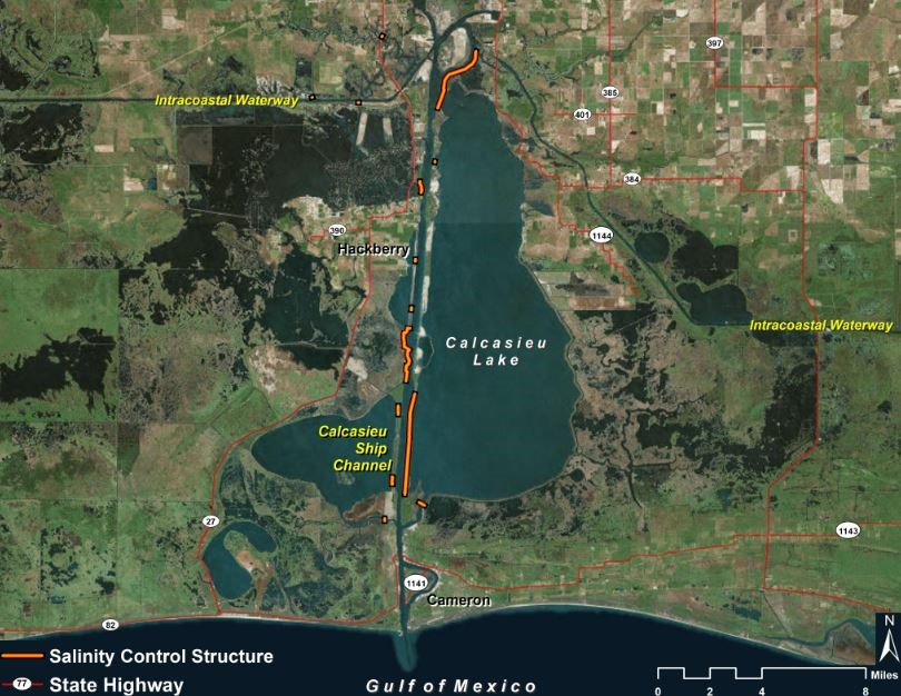 Location of the Calcasieu Ship Channel Salinity Control Measures project
