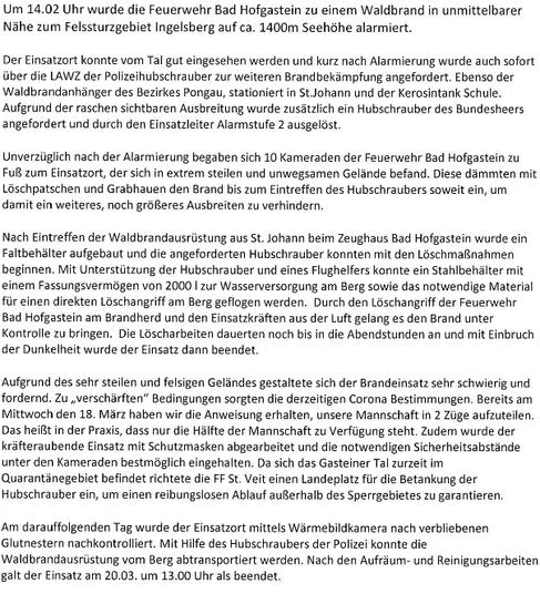 Wald- und Flurbrand am Ingelsberg