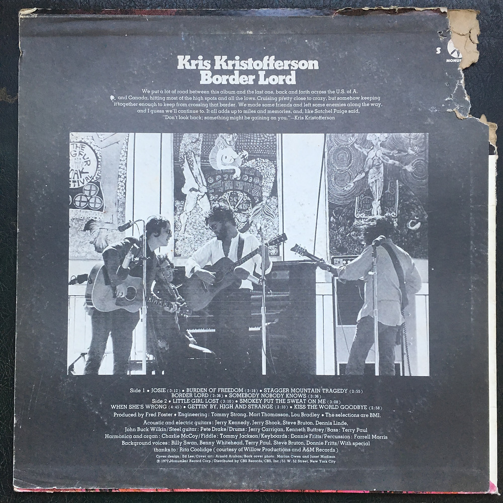 Back side cover, Kris Kristofferson, Border Lord