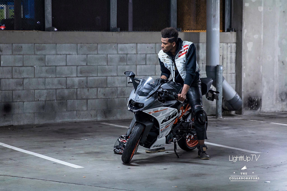 Kelvin Taylor on his motorcycle for Electro City 2, his 2nd Produced Film project.
